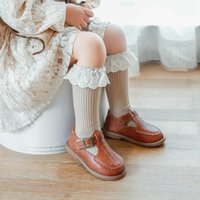 طفلة الجوارب الدانتيل القطن الحدود الفتيات جورش كشكش الاطفال الأوسط أنبوب الجوارب لينة الأميرة الساق أدفأ 5 ألوان DW6199
