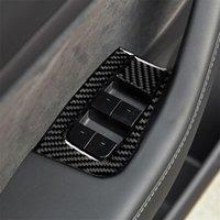 Karbon Fiber Araba Pencere Düğmesi Tesla Model 3 için Dekoratif Sticker Sol Sürüş için Uygun