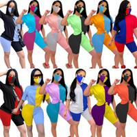 الصيف المرأة التباين اللون كتلة تراكسويت ثلاثة قطعة تناسب قصيرة الأكمام أعلى + السراويل + قناع ضيق المرقعة الملابس الرياضية الملابس S-XXL 443 K2