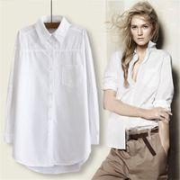 Ricorit المرأة طويلة بلوزة المرأة قميص أبيض مكتب السيدات 100٪ قطن القمصان عارضة القطن بلوزة الأزياء blusas femininas LJ200811