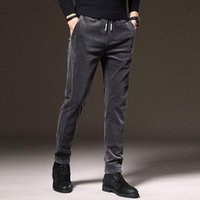 Erkek kot sonbahar ly tasarımcı moda erkekler elastik slim fit rahat iş kadife pantolon Kore tarzı vintage akıllı takım pantolon