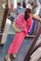 2020 Yeni Tasarım kadın Kalınlaşma Sıcak Kaba Yün Örme O-Boyun Kazak Ve Maxi Uzun Gevşek Etek Twinset Elbise Suit