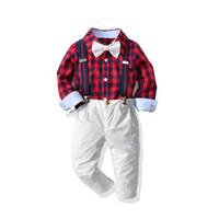 i ragazzi di Natale plaid abiti bambini primavera camicia a quadri + papillon + bretella pantaloni casual 3pcs regola i vestiti di prestazione giorno dei bambini A5099