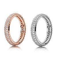 큐빅 지르콘이있는 100 % 925 스털링 실버 반지 발렌타 패션 반지를위한 Pandora 패션 반지 로즈 골드 결혼 반지 여성