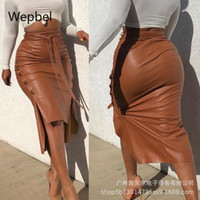 Webbel Sexy Women Faldas de cuero Slit Long Slim-Fit Fit Up Faldas Sólido Color Alto Cintura Lápiz PU Casual Club Wear