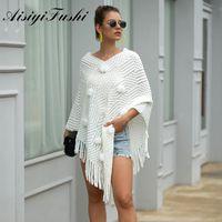 Aisiyifushi Hairball Frauen Pullover Herbst Winter Tücher Damen Weiß Pullover Gestrickte Outwear Cape Poncho Tuch Y200910