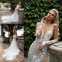 Julie Vino Wedding Dresses Deep V Neck Long Sleeve Sash Appliques Lace Mermaid Wedding Dresses Sweep Train Bridal Gowns Vestido De Novia