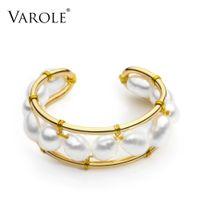 فارول اللؤلؤ الطبيعي الدائري اليدوية لون الذهب خواتم للنساء الملحقات فنجر الأزياء والمجوهرات هدايا