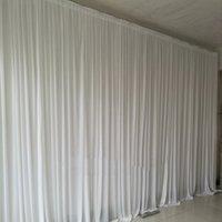 4 * 8mピュアホワイトファブリック背景ドレープカーテンの結婚式イベントパーティーステージ背景の結婚式の装飾
