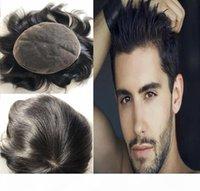 Color negro natural # 1b peluca del cordón para los hombres negros Toupee para hombre para hombre las medias del pelo reemplazan las piezas del pelo humano brasileño vírgenes ¡Envío libre!