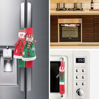 Funda de manija de nevera Christmas Microondas Horno Guantes de muñeco de nieve encantador Refrigerador Protección del horno Cubra Decoraciones de Navidad VT1840