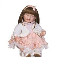 55 cm Reborn Baby Muñeca con pelo largo realista suave silicona reborn babies niña 22 pulgadas niños juguete