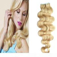 Cinta del cabello 40 unids cinta en extensiones de cabello humano onda corporal 100 g de adhesivo invisible PU Remy Skin Skit Tape Extensiones de cabello al por mayor
