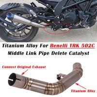 Sistema di scarico del motociclo Slip on per Benelli 502C TRK TRK in lega di titanio Escape Muffler Contazione Contazione del middle Link Tubo Elimina catalizzatore