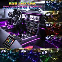 أضواء السيارات الداخلية سيارة RGB LED - الموسيقى RGB Neon Lights Lights -5 في 1 مع 6 أمتار / 236.22 بوصة الديكور الداخلي الجوي سيارة QC15
