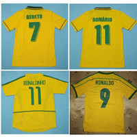 1994 Brasil Jerseys Rivaldo 1998 레트로 빈티지 클래식 셔츠 Brazil Carlos Romario Ronaldo Ronaldinho 2002 축구 유니폼 Camisa de Futebol
