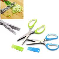 5 طبقات القاطع مقصات لقطع مقص الأخضر البصل المروحية القطاعة أدوات المطبخ