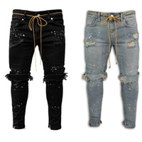 Slim Hole Jeans Mens Designer Skinny Paint Pencil Pants Fash...