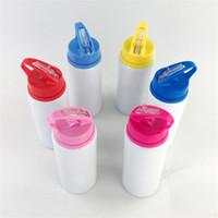 Sublimación Blancas Botellas de agua Cubierta de color Boca Boca Boca de succión Copa de aluminio Deportes Mujeres Hombres Caldera blanca Resistente al calor 8 5ty M2