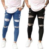 Мужские джинсы скинцы мужские брюки сексуальные отверстия растягивающиеся тощие разорванные повседневные тонкие подходят длинные джинсовые твердые брюки одежды
