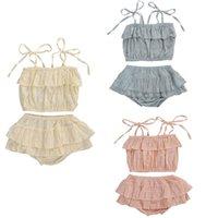 Kläder uppsättningar sommar baby tjejer kläder kostym toddler polka dots väst t-shirt toppar + ruffles tutu shorts byxor barn casua