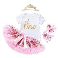 Gonna di rose Set 4 PZ NUOVE BORSE BAMBINE BAMBINES ROMPER INFANTI Abiti ragazze principessa bambino bambini vestiti vestiti di compleanno regali
