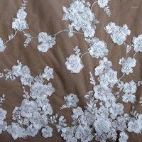 La Belleza 1 дворовые блестки жемчужины 3D цветы на сетке свадьбы / свадебные / вечерние платья кружевная ткань 51 '' width1