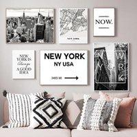 Картины Американский Стиль Йорк Карта города Холст Строительство Po Настенные картинки Картинки Плакаты и принты для гостиной Домашний декор
