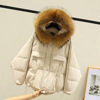 Женщины Даун Parkas Fitaylor Зима Большой Настоящий Енот Меховая Куртка с капюшоном Женщины 90% Белая Утка Пальто Нерегулярный Свободный Теплый Снег Короткие Управления