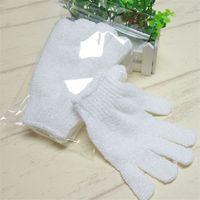 Branco nylon corporal limpeza chuveiro escovas luva esfoliating banho cinco dedos banhos luvas de banheiro casa suprimentos 4 m2