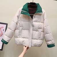 Women's Down & Parkas PEONFLY 2021 Winter Warm Women Patchwork Color Jacket Loose Woman Coat Thick Casual Outerwear