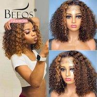 Kıvırcık İnsan Saç Peruk Vurgulamak Kısa Bob Peruk Kadınlar Için Kısa Dantel Frontal Kapatma 4x4 Dantel Kapatma Brezilyalı Remy Saç
