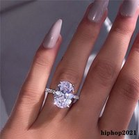 2021 إمرأة حلقات الزفاف الأزياء الفضة الأحجار الكريمة خواتم الخطبة مجوهرات مقلد الماس النساء حلقات