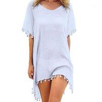 Costumi da bagno da donna 2021 Chiffon nappe spiaggia indossare donne costume da bagno copertina su costumi da bagno estate mini abito sciolto solido pareo ups1
