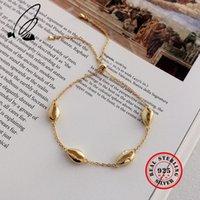 Conch Shell 925 Sterling Sterling Hollow Gold Catena Braccialetto regolabile per le donne Bohemian Pulseras Plata de Ley 925 gioielli Mujer LJ201020