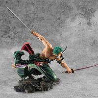 Sıcak satış tek parça 18 cm anime figure roronoa zoro 1/8 üç bıçak sa-maksimum ver. PVC Action Figure Koleksiyon Model Oyuncaklar Y1130