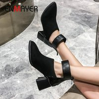 ENMAYER 2020 Winter Women Shoes PU Zip Basic Pointed Toe Ankle Boots for Women Square Heel Animal Prints Womens Boots Size 34-43