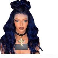 파란색 합성 레이스 전면 가발 아기 머리카락 바디 웨이브 흑인 여성을위한 흑인 여성용 열 저항성 합성