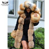 Femmes FUR FUL FAUX TATYANA FURCLUB PARKAS REAL POUR LES FEMMES HIVER OUTTH POUVOIR AVEC COLLIER NATURE Veste Noir Veste 80cm Long Manteaux Plus Taille1
