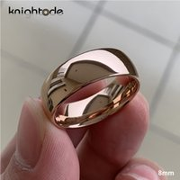Classic Rose Gold Tungsten Anel de Casamento para Mulheres Homens Tungsten Carbide Banda de Noivado Abóbada Polido Acabamento 8mm 6mm Anel Y1119