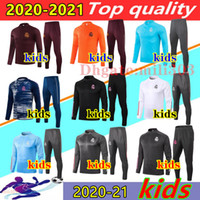 2020 2021 Real Madrid Enfants Soccer Tracksuit veste 20 21 Camiseta de futbol Garçons à manches longues Football Football Football Former costume Jogging