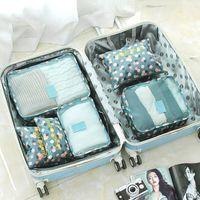 أكياس التخزين 6 قطعة / المجموعة أكسفورد الملابس سفر شبكة حقيبة التعبئة الأمتعة التشطيب المنظم الحقيبة حقيبة داخلية فرز waterpr