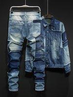 2020 Persönlichkeit Blaue Männer Sets Mischfarben gespleißt Lose Denim Zweiteiler Set Langarm Single Breasted Jackets und in voller Länge Jeans