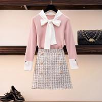 Hamaliel Tatlı Bahar Kadın Kazak Etek Takım Elbise Pembe Ilmek Hit Renk Örme İnce Tops Ve Kısa Tüvit Ekose Etek Setleri Y200110