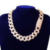 عرض 20 ملليمتر 16 ملليمتر 16-24 بوصة رجل بلينغ الهيب هوب سلاسل مطلية بالذهب الكامل تشيكوسلوفاكيا الماس الحجر الكوبي سلسلة قلادة سوار مجوهرات هدية للرجال النساء