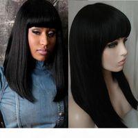Uzun Düz Peruk Kadınlar Için Doğal Saç Tatlı Kadın Moda Uzun Bob Peruk Siyah Saç Sürükle Kraliçe Peruk