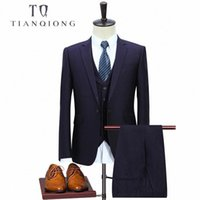 TIAN QIONG Nuovo Arrivo Abito da uomo in lana viola di alta qualità, un bottone da uomo casual da uomo, abiti da uomo per uomo Tuxedo 3 pezzi # x82m