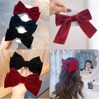 Kadife Ilmek Firkete Kız Kadın Moda Saç Aksesuarları Yan Klip Kelepçe Şapkalar Takı Bulguları Siyah Kırmızı Kore Versiyonu 2 7QT N2