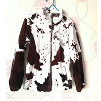 winter designer fashion new style cow print fleece zipper pu...