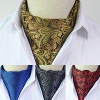 Corbatas de cuello hombres vintage lunares boda formal formal Cravat Ascot Self Británica estilo caballero poliéster seda paisley corbata